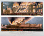 Two views of the destruction of the Armoury in the Tower of London by fire, 30 October 1841 Fine Art Print by Gustave Dore