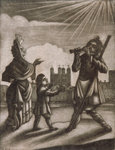 Man piping and a woman and child dancing near the walls of the Tower of London Fine Art Print by Mexican School