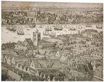 View of the Tower of London from the south with boats on the River Thames Fine Art Print by Max Ferguson