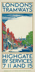 Highgate by Services 7, 11 and 15, London County Council (LCC) Tramways poster Fine Art Print by Tony Todd