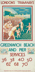 Greenwich Beach and Pier, London County Council (LCC) Tramways poster Fine Art Print by Brian Yale