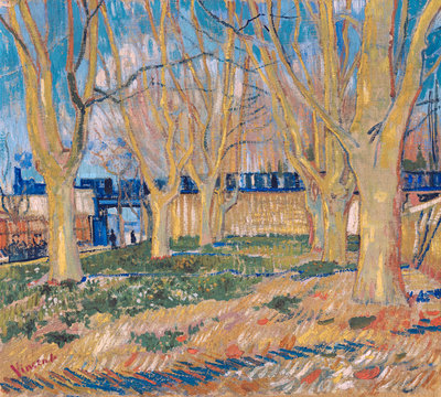 The viaduct in Arles. The blue train Wall Art & Canvas Prints by Vincent Van Gogh