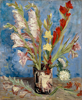 Vase with gladioli and China asters Fine Art Print by Vincent Van Gogh