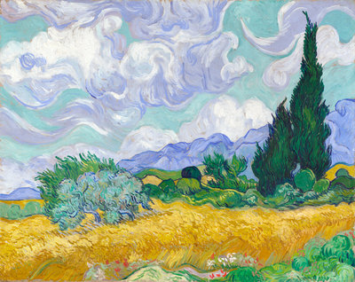 A Wheatfield, with Cypresses Fine Art Print by Vincent Van Gogh