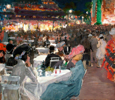 Café in Paris at Night Fine Art Print by Sergei Arsenyevich Vinogradov