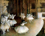Ballet Rehearsal on Stage Fine Art Print by Edgar Degas