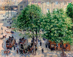 Place du Théâtre Français in Paris. Spring Postcards, Greetings Cards, Art Prints, Canvas, Framed Pictures, T-shirts & Wall Art by Camille Pissarro