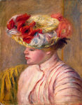 Young Woman in a Flowered Hat Fine Art Print by Pierre Auguste Renoir