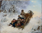 Children on a horse drawn sleigh Fine Art Print by French School