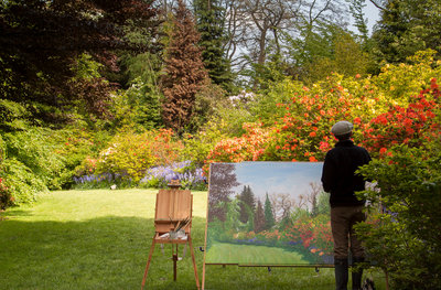 Painter at VanDusen botanical print by Penelope Slack