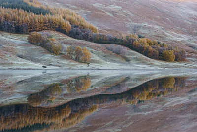 Loch Lubhair Reflection Postcards, Greetings Cards, Art Prints, Canvas, Framed Pictures, T-shirts & Wall Art by Sandy Furniss