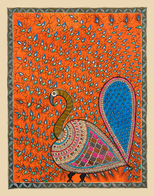 Peacock in Orange background Fine Art Print by Maneesh
