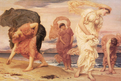 Greek Girls Picking up Pebbles Poster Art Print by Frederic Leighton