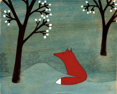 The Fox and the Marshmallows Poster Art Print by Kristiana Pärn
