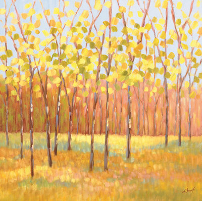 Yellow and Green Trees center Fine Art Print by Libby Smart