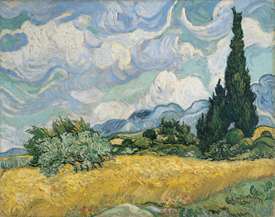 A Wheatfield with Cypresses Poster Art Print by Vincent Van Gogh