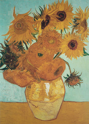 Sunflowers on Blue, 1888 Fine Art Print by Vincent Van Gogh