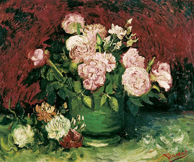 Roses and Peonies, 1886 Poster Art Print by Vincent Van Gogh