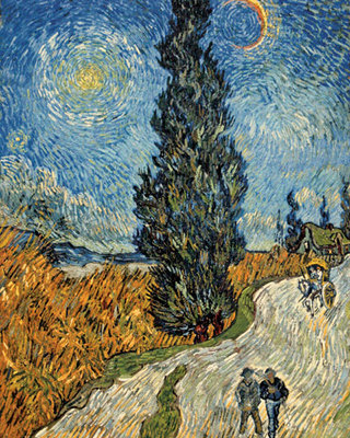 Country Road in Provence by Night, c. 1890 Fine Art Print by Vincent Van Gogh
