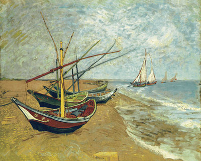 Boats Saintes-maries Fine Art Print by Vincent Van Gogh