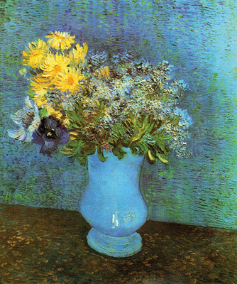 Vase with Lilacs, Daisies and Anemone Fine Art Print by Vincent Van Gogh