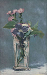 Carnations and Clematis in a Crystal Vase Fine Art Print by Claude Monet