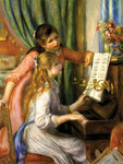 Two Young Girls at the Piano Fine Art Print by Frederic Leighton