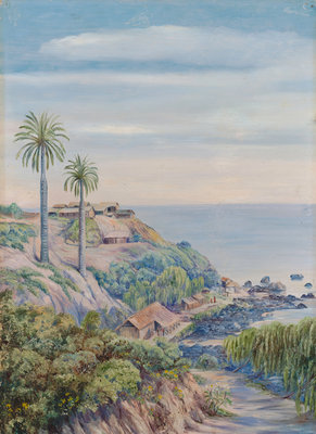 17. View of Concon, Chili, with its two Palms Postcards, Greetings Cards, Art Prints, Canvas, Framed Pictures, T-shirts & Wall Art by Marianne North
