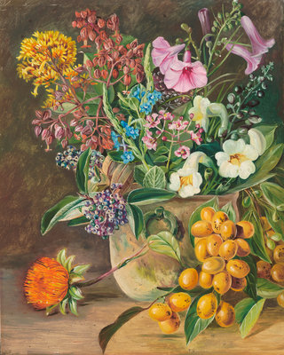 87. Group of Brazilian Forest Wild Flowers and Berries. botanical print by Marianne North