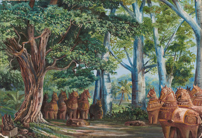 279. African Baobab Trees, a large Tamarind, the God Aiyanar and his two Wives. Poster Art Print by Marianne North
