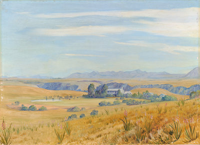 444. View of Cadle's Hotel and the Kloof beyond, near Grahamstown Poster Art Print by Marianne North