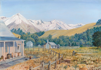 717. Castle Hill Station, with Beech Forest, New Zealand Postcards, Greetings Cards, Art Prints, Canvas, Framed Pictures, T-shirts & Wall Art by Marianne North