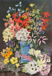 409. Old Dutch Vase and South African Flowers. botanical print by Marianne North