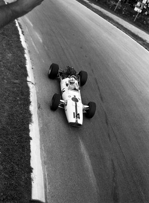 1967 Italian Grand Prix. Monza, Italy. 10 September 1967. John Surtees, Honda RA300, 1st position, action. Fine Art Print by Anonymous