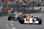 1992 Monaco Grand Prix. Monte Carlo, Monaco. 28-31 May 1992. Ayrton Senna (McLaren MP4/7A Honda) 1st position with Nigel Mansell (Williams FW14B Renault) 2nd position close behind, trying to pass in the last few laps of the race Fine Art Print by Anonymous