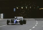 1994 Monaco Grand Prix. Monte Carlo, Monaco. 13-15 May 1994. The sparks fly as Damon Hill (Williams FW16 Renault) exits the tunnel. He exited the race after he hit Hakkinen on the first lap Fine Art Print by Anonymous