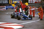1996 Monaco Grand Prix. Monte Carlo, Monaco. 16-19 May 1996. Olivier Panis (Ligier JS43 Mugen-Honda) 1st position drives around the streets with the tricolour Fine Art Print by Anonymous