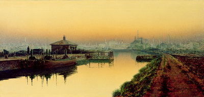 Knostrop Cut, Leeds, Sunday Night, 1893 by John Atkinson Grimshaw - print
