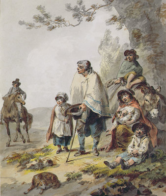 A Gypsy Family by Julius Caesar Ibbetson - print