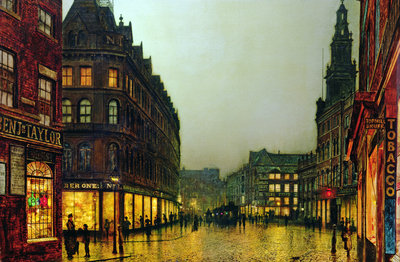 Boar Lane, Leeds, 1881 Wall Art & Canvas Prints by John Atkinson Grimshaw