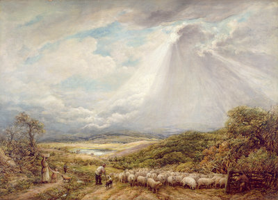 Driving the Flock, 1877 by John Linnell - print