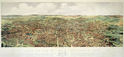 Bird's-Eye View of Leeds, pub. by Frank Pettingell and Brownlow T. Thompson, c.1880 by English School - print