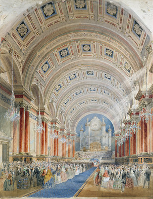 Interior Perspective, Leeds Town Hall, 1854 by Cuthbert Brodrick - print