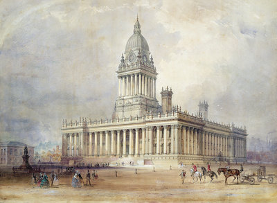 Design for Leeds Town Hall, 1854 by Cuthbert Brodrick - print