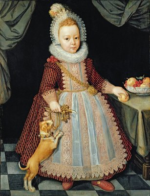 Portrait of a Child with a Rattle, 1611 by Paul van Somer - print