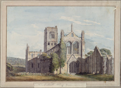 North West View of Kirkstall Abbey, 1777 by Moses Griffiths - print
