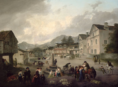 The Market Place, Ambleside, 1817 by Julius Caesar Ibbetson - print