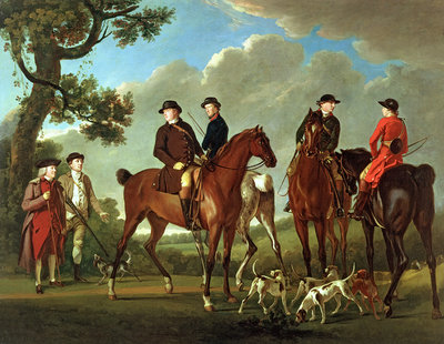 Sir Thomas Gascoigne and Sir Walter Vavasour with the Priest, the Vicar and Hunt Servants, 1785 by English School - print