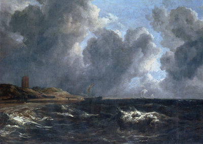 Storm off Egmond-Aan-Zee by Jacob Isaaksz. or Isaacksz. van Ruisdael - print