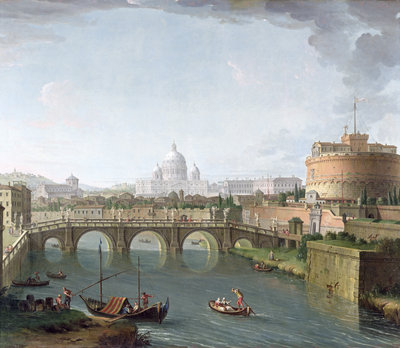 View of the Tiber by Antonio Joli - print